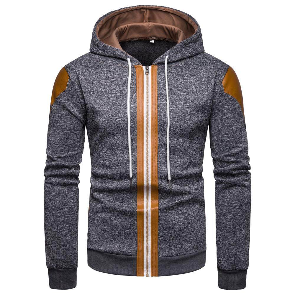 360c5c67 Kohlershop Men's Fall And Winter New Fashion Color Collision Zipper Sweater  Hooded Coat Free shipping
