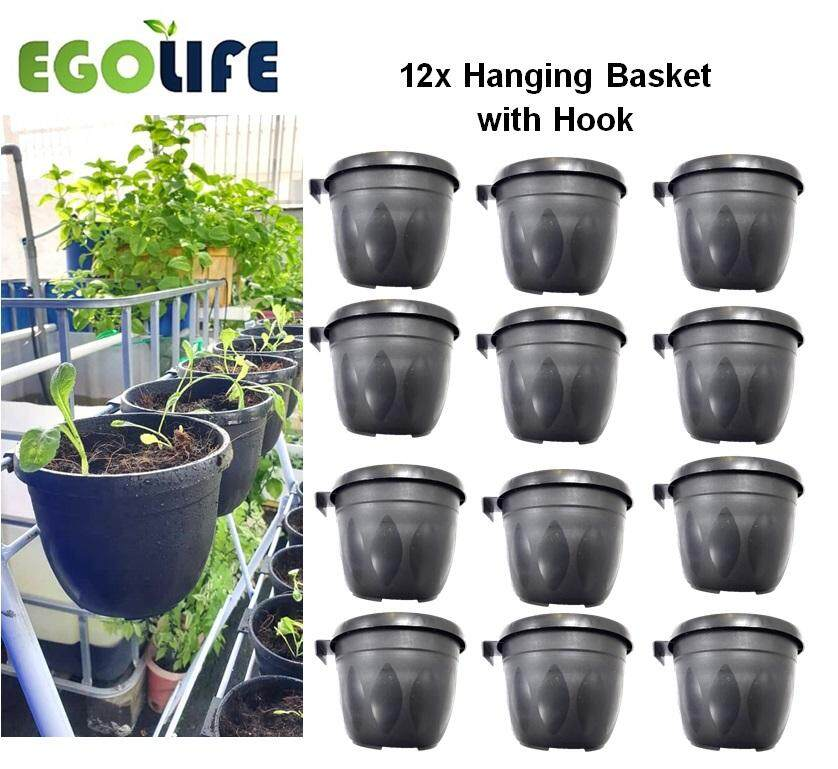 12pcs of 125mm Garden Hanging Flower Vegetable Hang Pot c/w Hook Balcony Indoor Outdoor