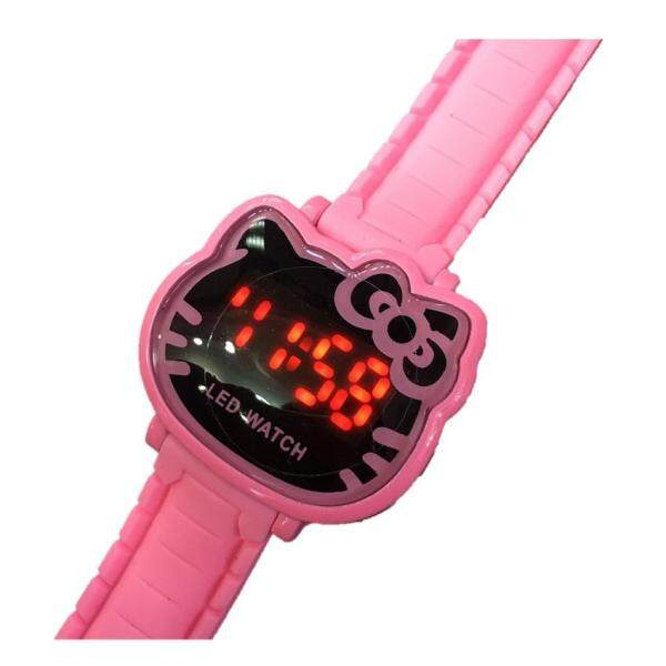 Girl Kids Children Cute Cat Pink LED Digital Watch (Pink Color) Malaysia