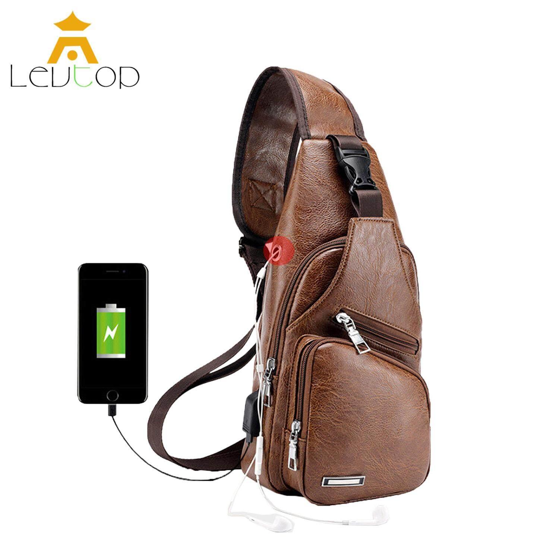 c5ea96a890 LEVTOP Men Crossbody Sling Bags Chest Shoulder Bags PU Leather Messenger  Travel Bags