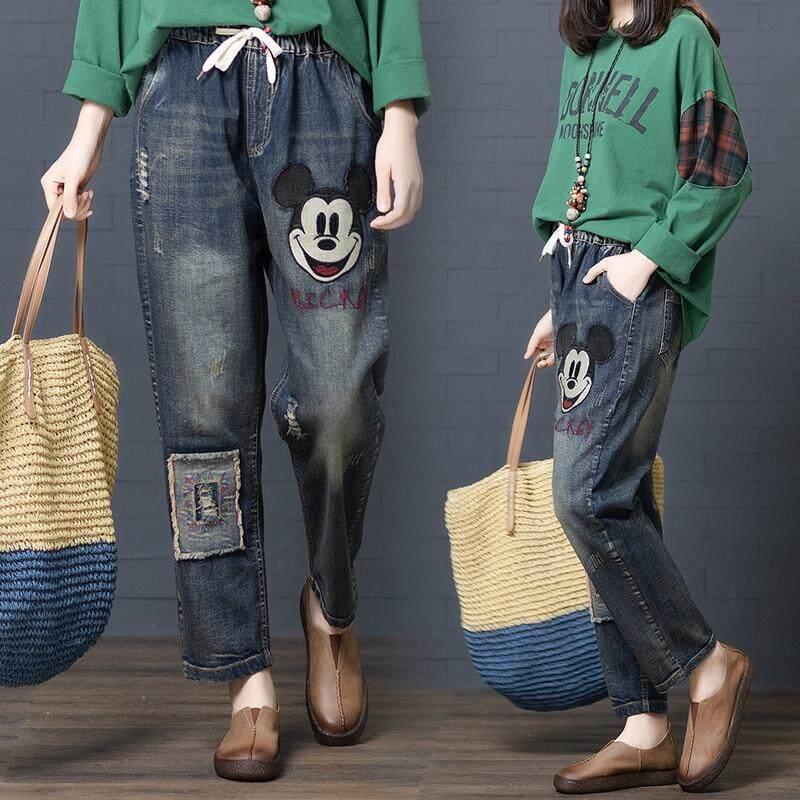 c00cd8472 Cartoon Embroidered Denim Mickey Jeans Women High Waisted Mom Jeans Vintage  Baggy Elastic Waist Denim Pants