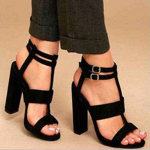Stf Fashion High-Heeled Sandals For Women European And American Style Coarse Heel Hollow Out Sandals By Six Trees Flagship Store.