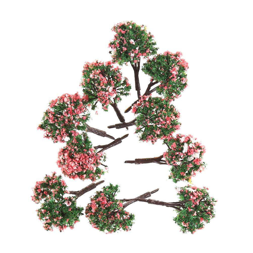 10pcs Ho Scale Model Trees Model Tree With Pink Flower For Railroad Scenery