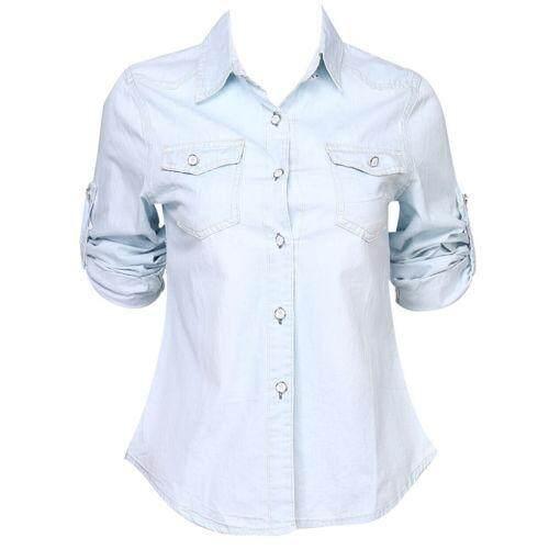 e9bef9a9 Retro Women Casual Blue Jean Soft Denim Long Sleeve Shirt Tops ...