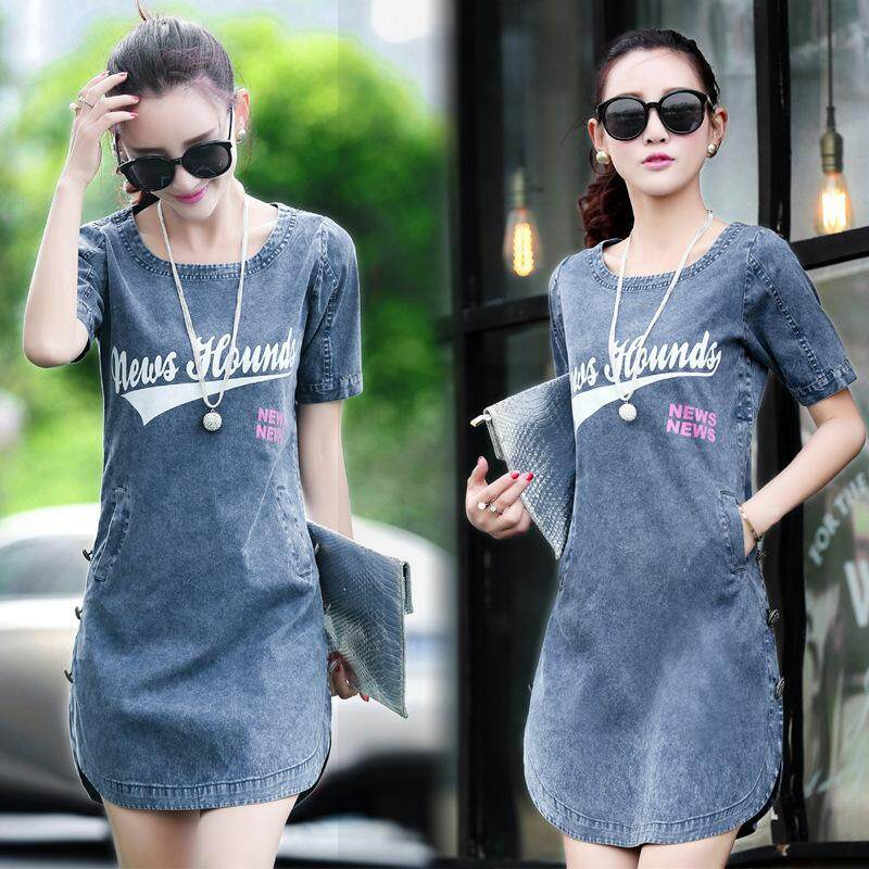 7f814ff9c78f0 Plus Size S~4XL New Arrivals Korean Denim Dresses Woman Letter Loose Slim  Jeans Dress Summer 2018