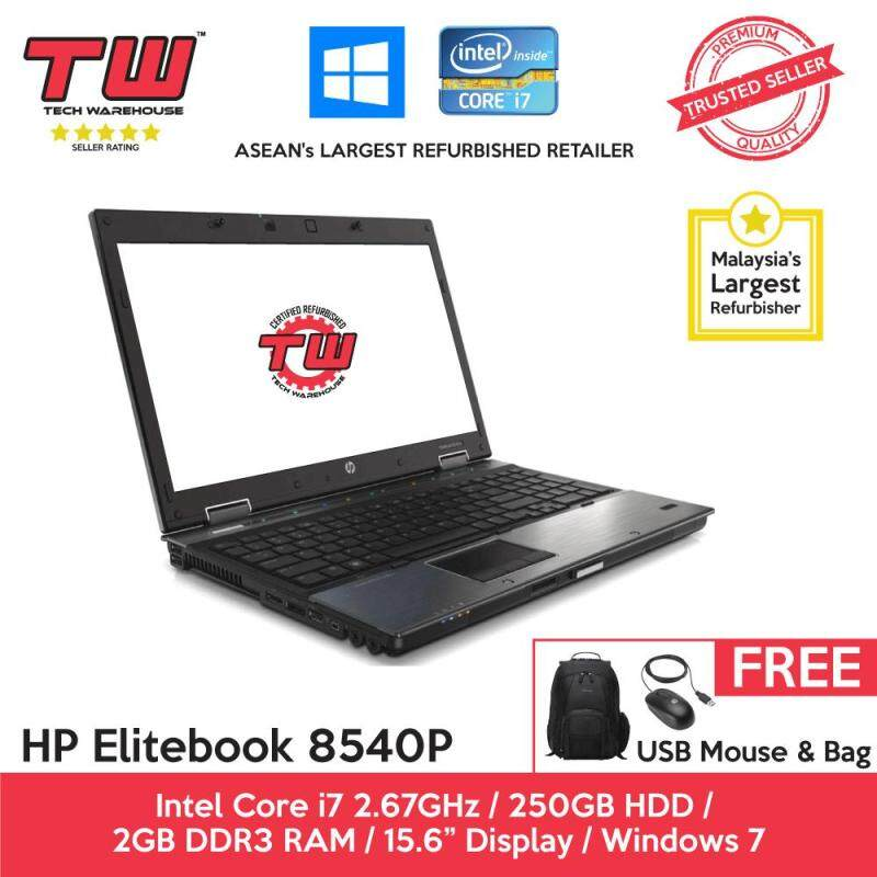 HP Elitebook 8540P Core i7 2.67GHz / 2GB RAM / 250GB HDD / Windows 7 Laptop / 3 Months Warranty (Factory Refurbished) Malaysia
