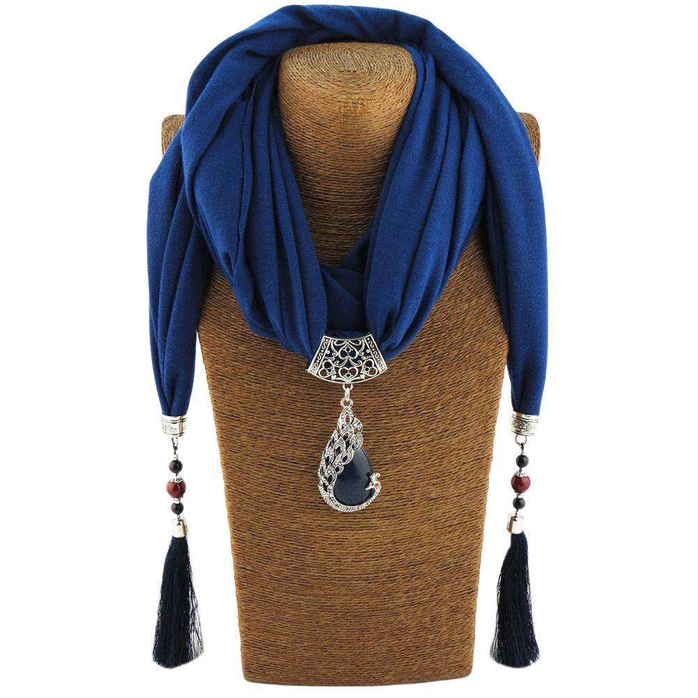 Women Long Scarf Retro National Style Tassel Pendant Scarf