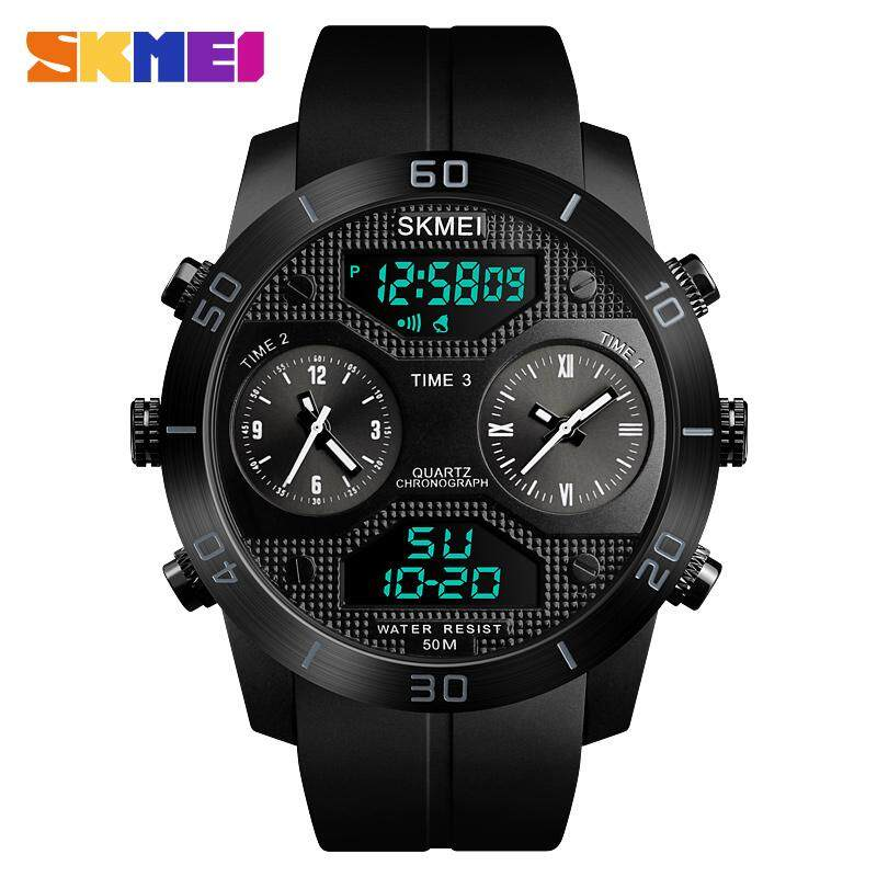 SKMEI 1355 Mens Military 3 Time Sports Outdoor Quartz Digital Multi Movement LED Watch Full Black / Red / Blue Malaysia