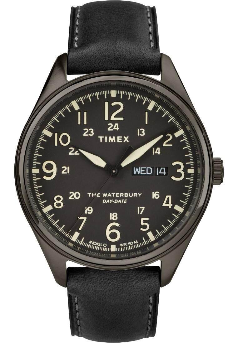 Timex-Waterbury Traditional Day Date Gunmetal Case Black Dial Black Leather  Strap TW2R89100
