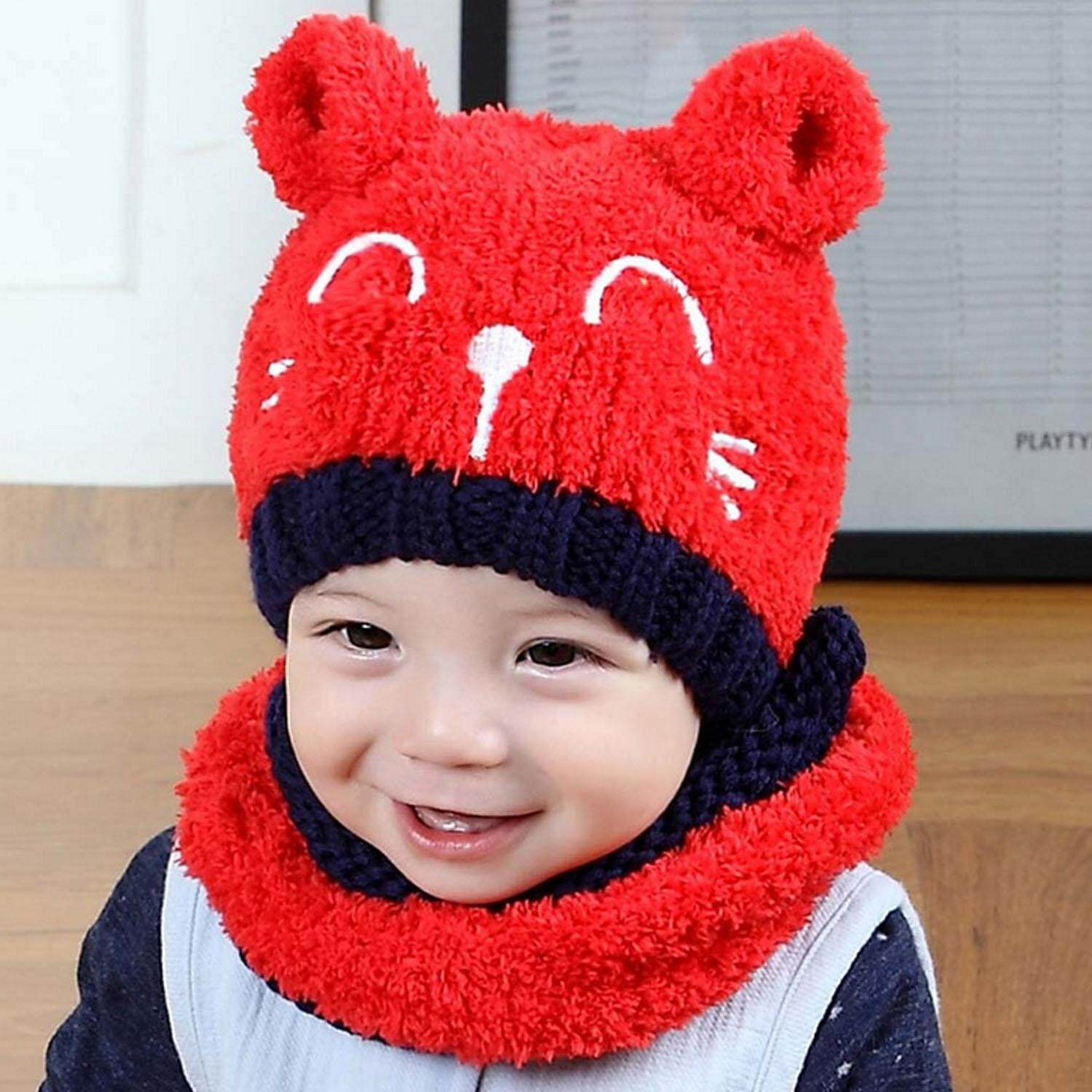876cf7c4b39 2pcs Baby Infant Cute Winter Warm Soft Cat Knit Beanie Hat Cap with Circle  Scarf for