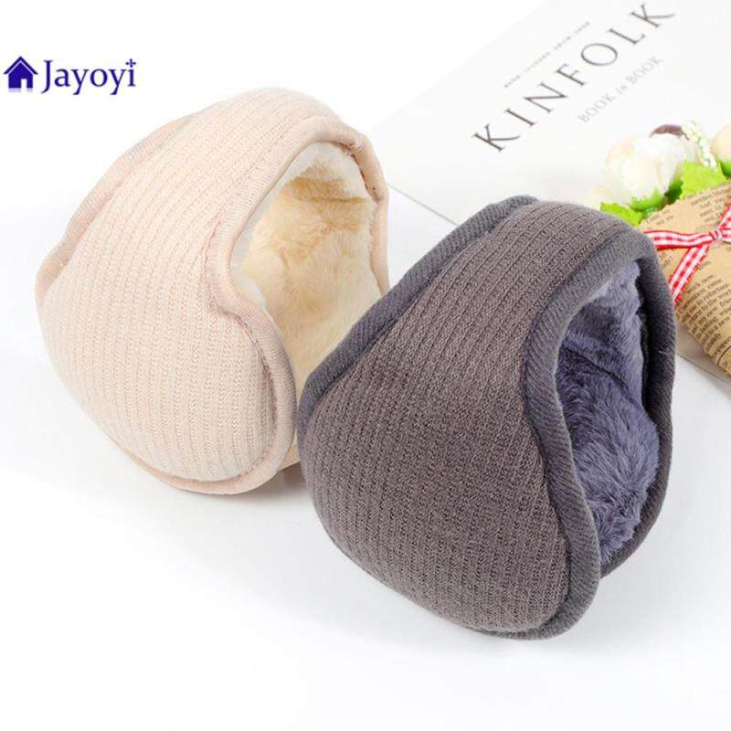 Jayoyi Earmuffs Warm Woolen Knitted Ear Warmer Foldable Faux Cashmere Ear Muffs Ear Cover Bag Back Wearing Earflap for Men Women