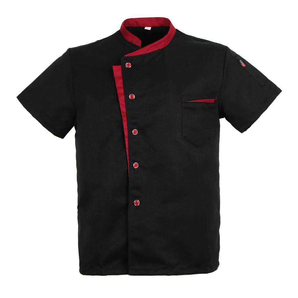 MagiDeal Unisex Chef Jacket Coat Short Sleeves Shirt Hotel Kitchen Uniform Black M