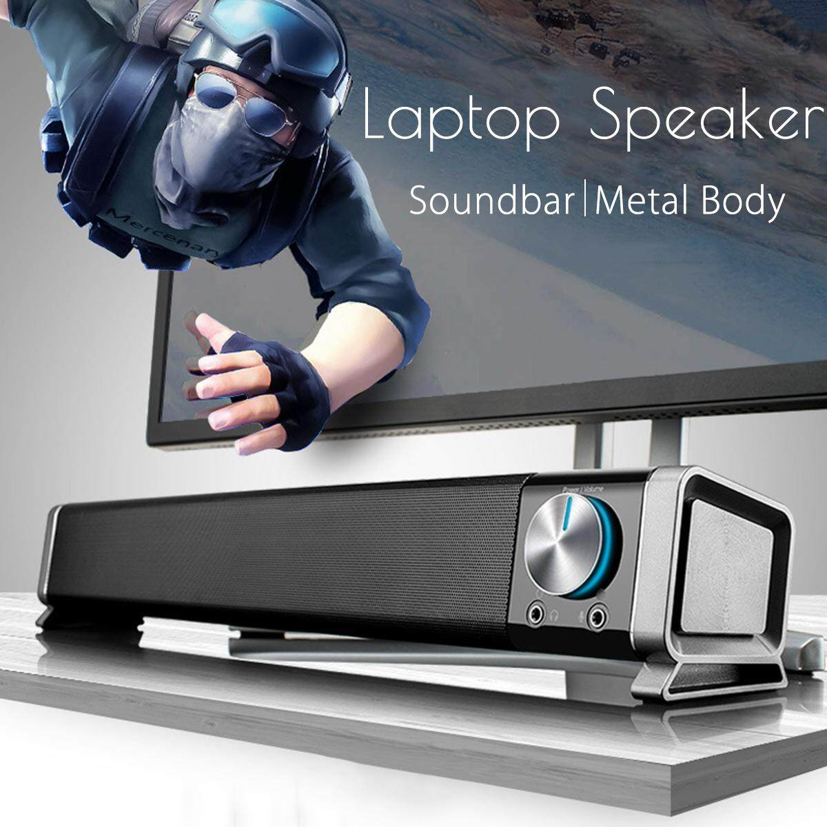3.5mm Portable Soundbar Speaker Subwoofer TV Home Theater For Laptop PC Tablet Malaysia