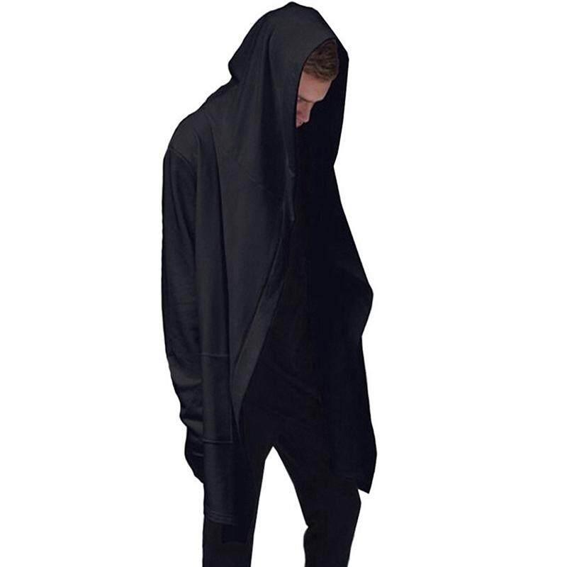 Gothic Cloak Cape Long Sleeve Hoodie Black Color Long Coat Punk Asymmetric-Hem Irregular Hooded