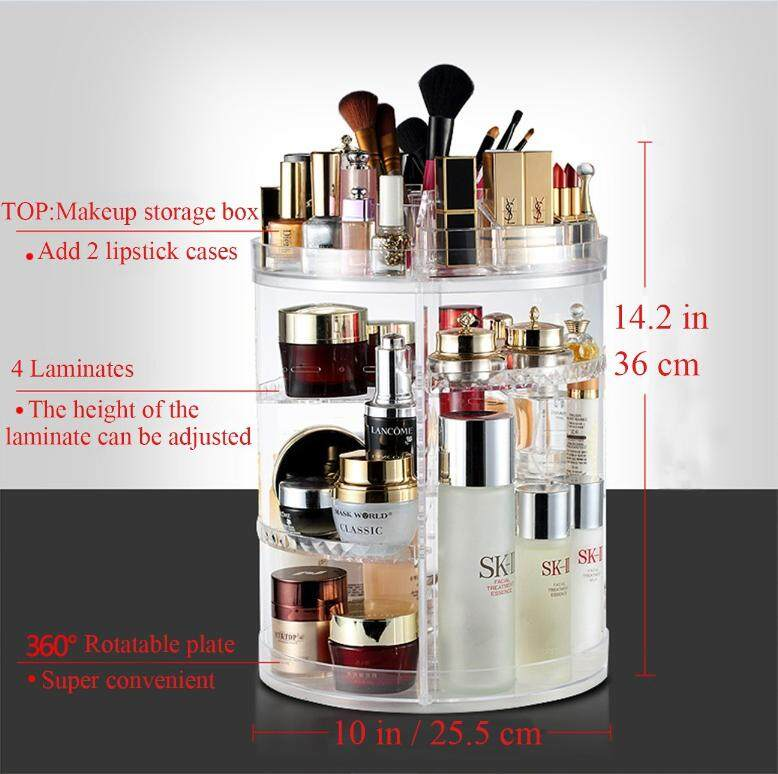 319a590acca9 Large Capacity Acrylic Makeup Organizer - 360° Rotating /Revolving  Adjustable Cosmetic Storage and Makeup Palette Organizer+2 Free Lipstick  Holder (1, ...