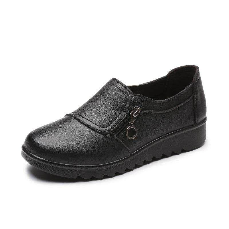 0ca6e80e9 Women Spring New Shoes Female Leather Casual Flats Female Soft Black  Footwear Pregnant Women Shoes