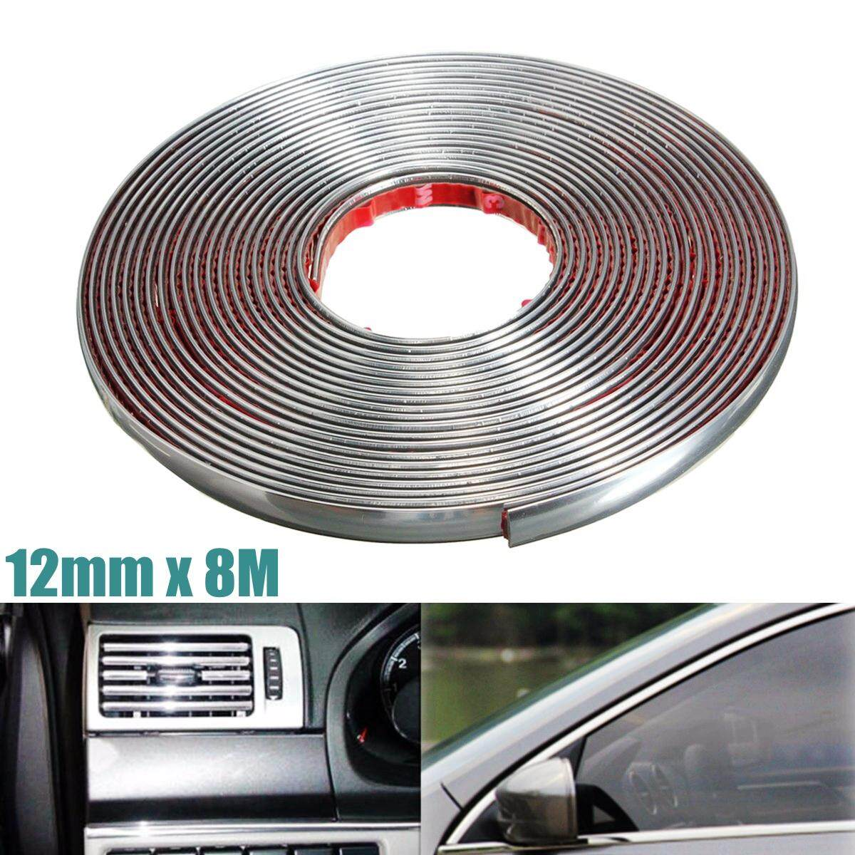 12mm X 8m(316) Car Chrome Styling Moulding Adhesive Trim Strip Rubbing Durable By Audew.
