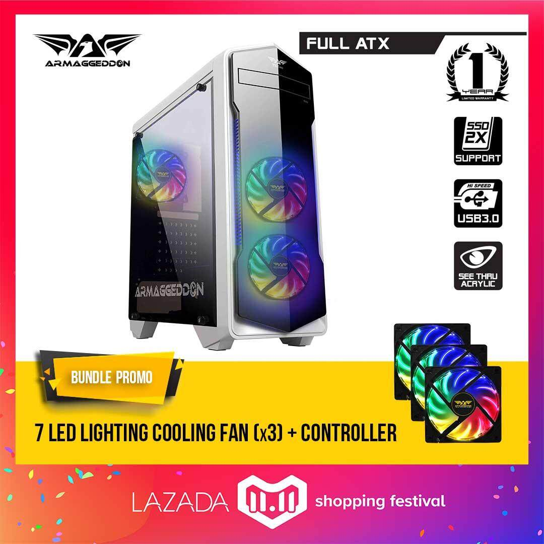 (11.11) Armaggeddon T5x Pro Full ATX - Smart Gaming Structure PC Chassis Free 7 Pulsating Lighting LED Fan (x3) with controller Malaysia