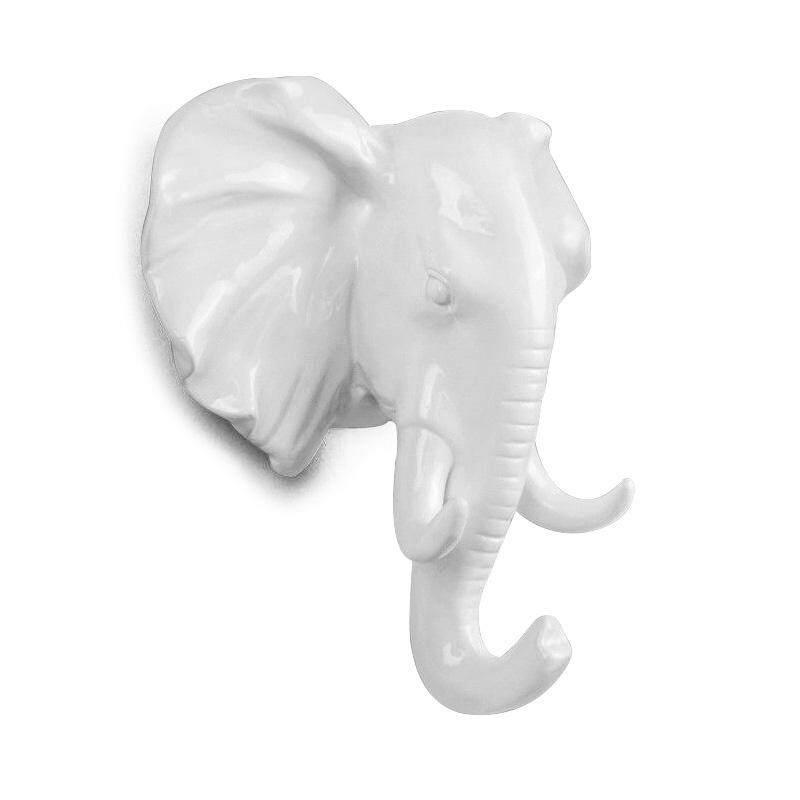 Animal Ornamental Hook Creative 1 Pcs Hanging Head Hat, white Elephant head
