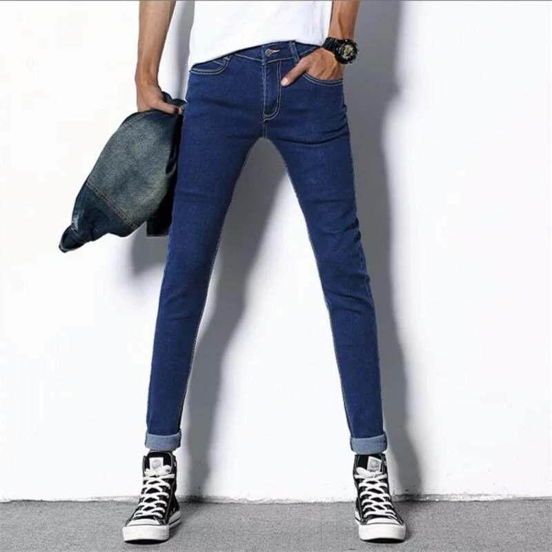 The new men's feet stretch pants slim slim blue jeans