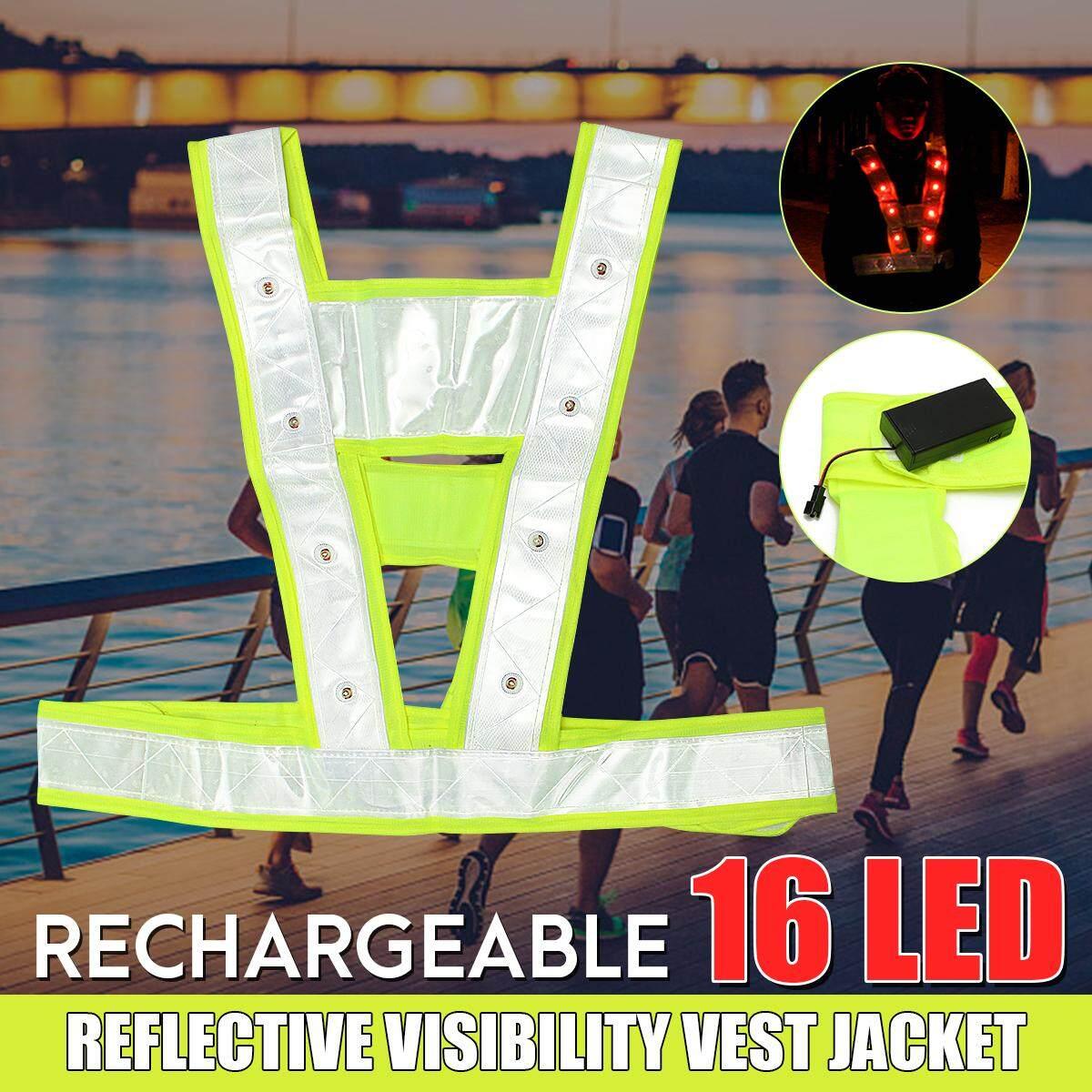 Hi-Viz Rechargeable Reflective Vest Adjustable 16LED Flashing Warning 3 Modes