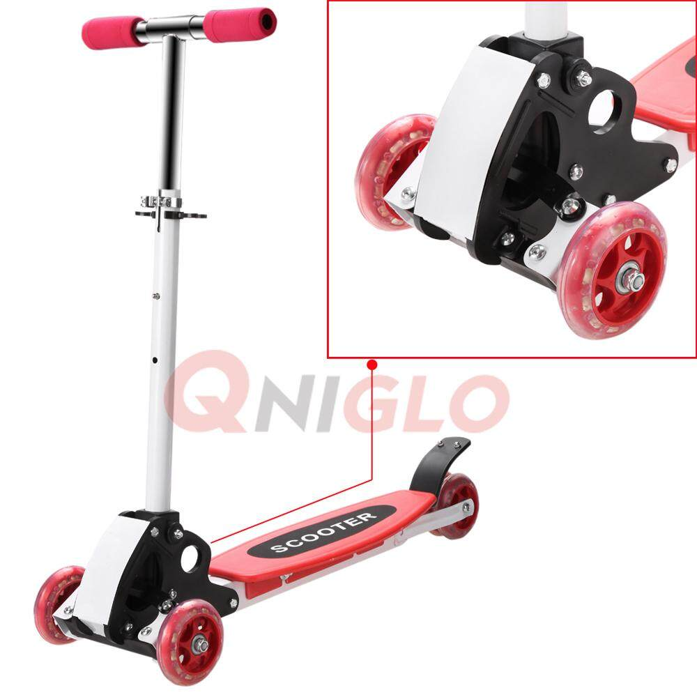 Foldable Three 3 Wheels Scooter Height Adjustable Ecosport Portable Kick Scooters Red By Qniglo Sdn Bhd.