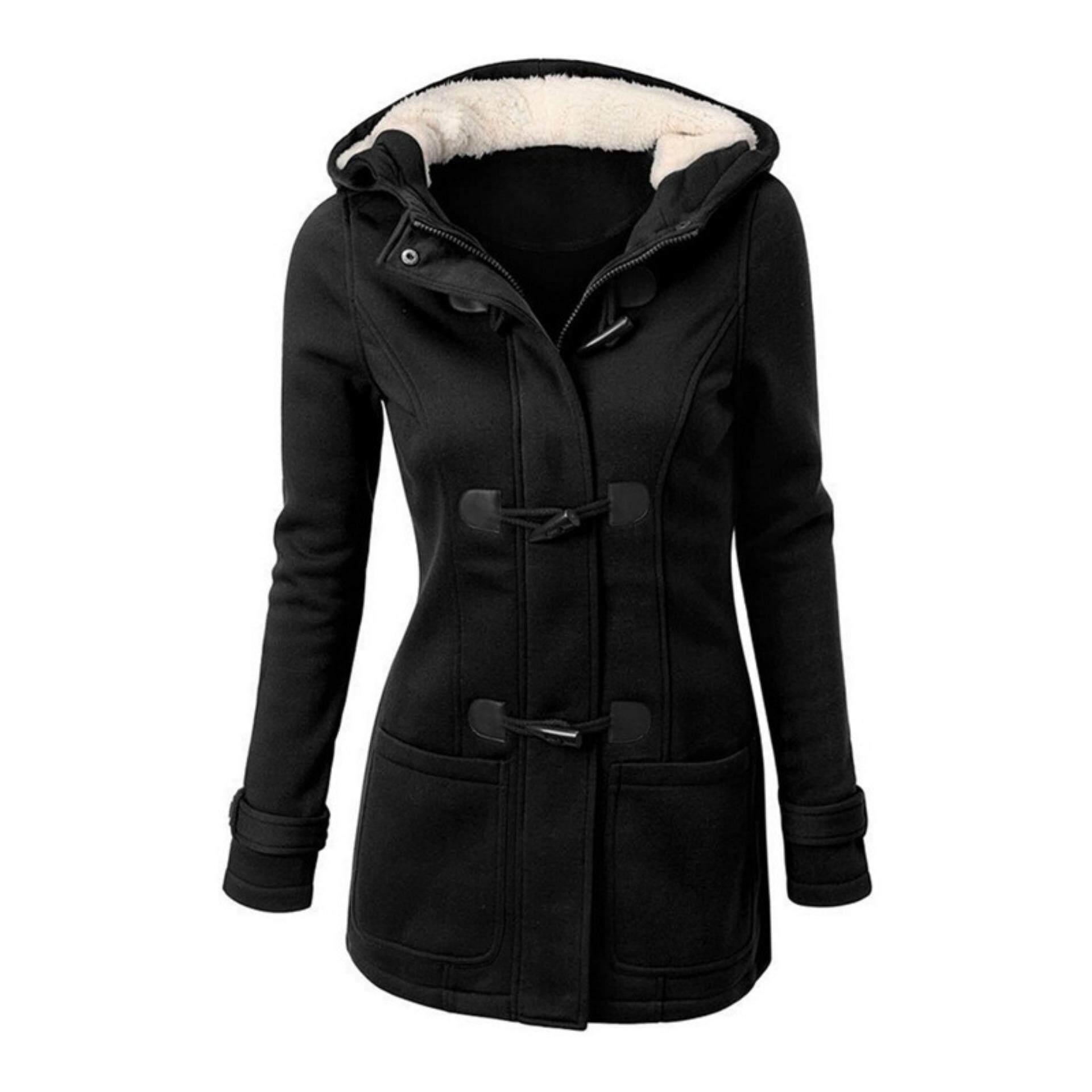 ba5225183 Veli shy Women's Winter Warm Wool Blend Double Breasted Jacket Coat  Overcoat Parka Outwear Black S