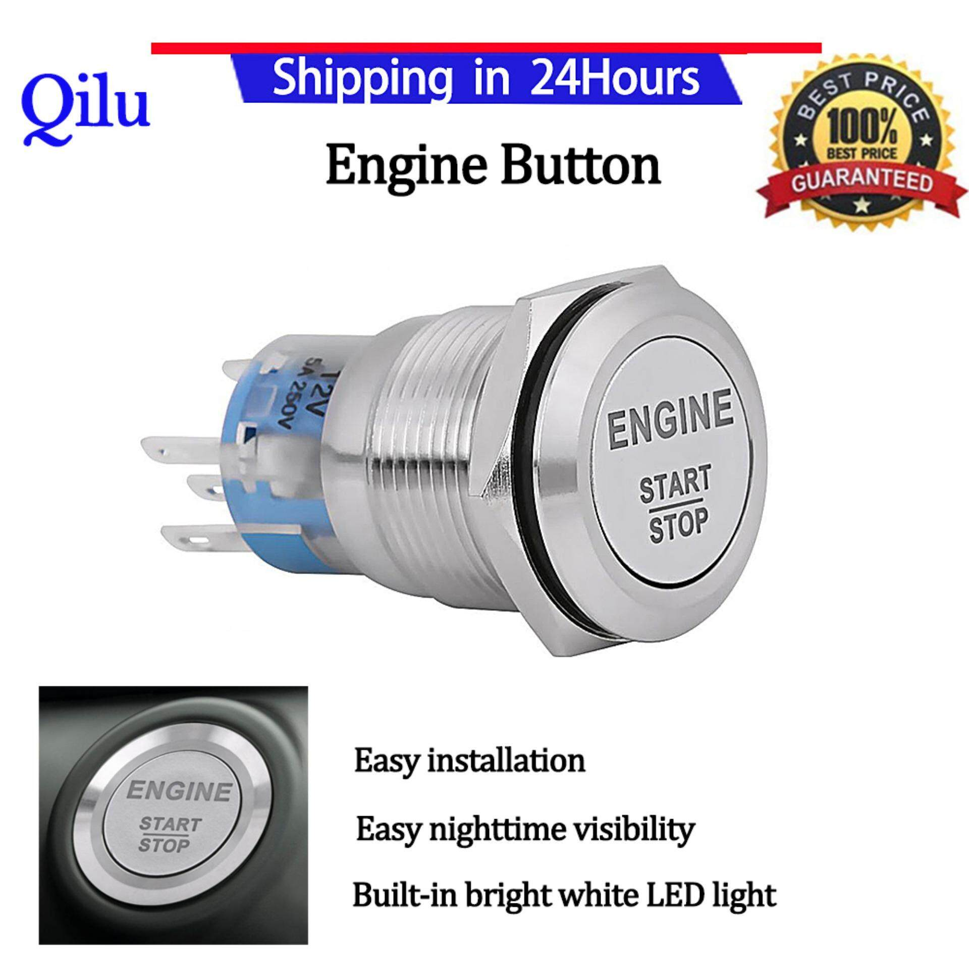 Alarm Systems Accessories Buy At Led Push Switch 250vac Wiring Diagram Engine Start 12v White Car Stop Button Silver Stainless Steel