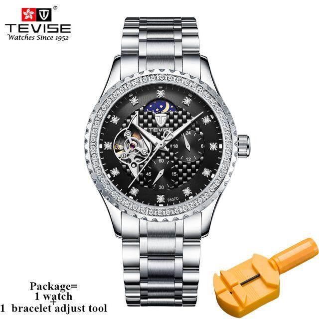 TEVISE Top Luxury Brand Watch Men's Diamond Business Automatic Watch Waterproof Moonlight Mens Watch Luxury Mechanical