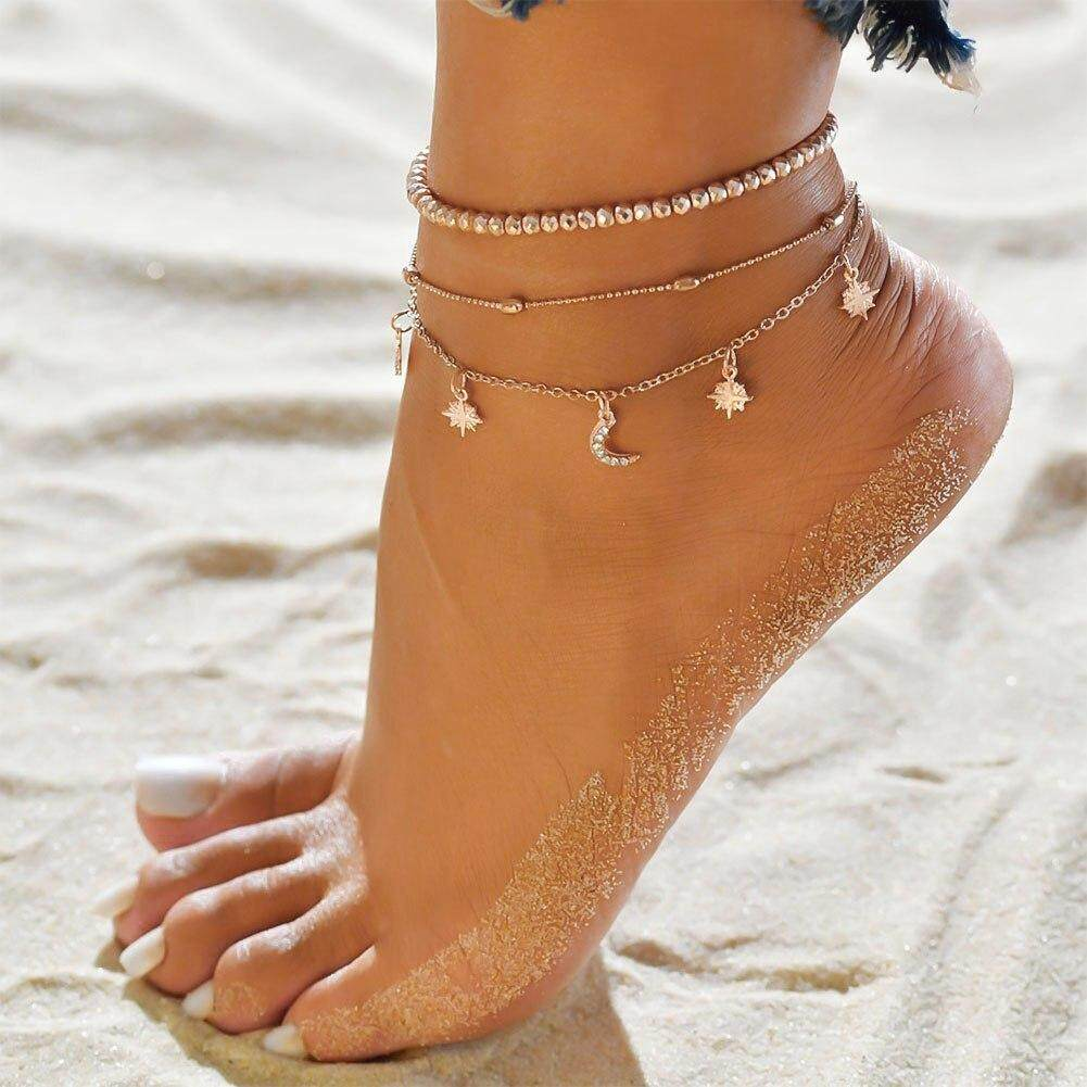 ab5e46cce Fancyqube Bohemian Star Moon Beads Anklets For Women Vintage Multi Layer  Anklet Bracelet Charm Beach Jewelry