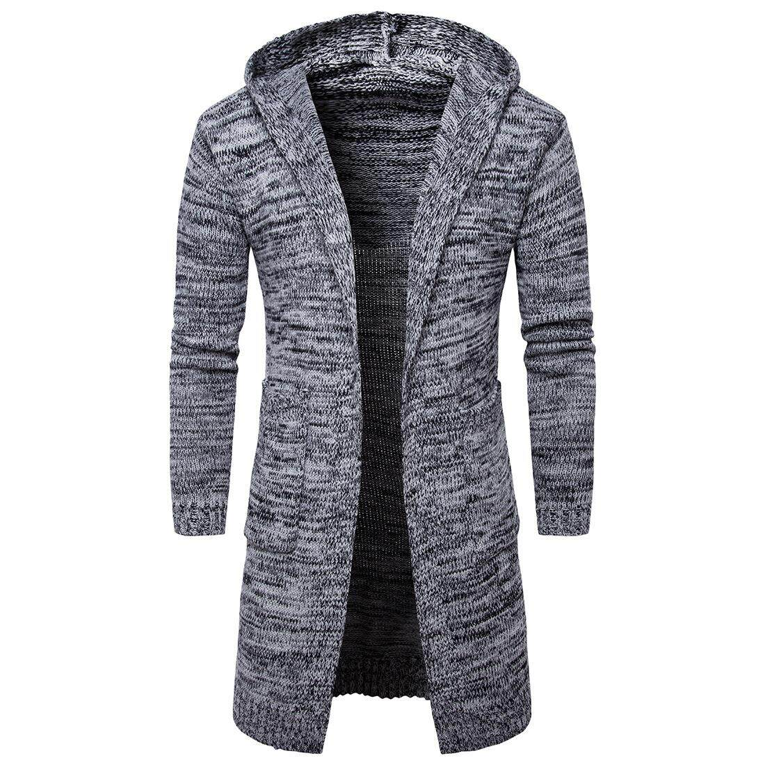 Wjkfgi Mens Slim Fit Hooded Knit Sweater Fashion Cardigan Long Trench Coat Jacket By Wjkfgi Store.