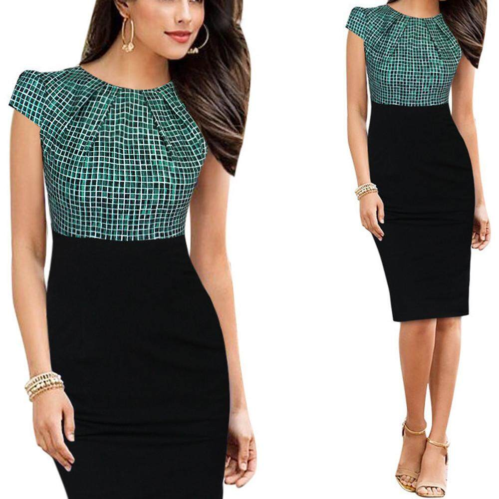 db1d4e69e657 Women Print Patchwork Plaid Working High Waist Office Party Casual Dresses