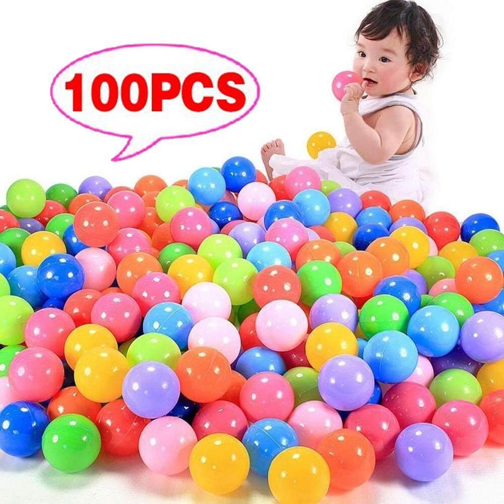 100pcs / Set Soft Ocean Balls Colorful Baby Kids Play Balls Tent Swim Pit Toy Plastic Swim Fun Ocean Balls Ready Stock By Tvcc.