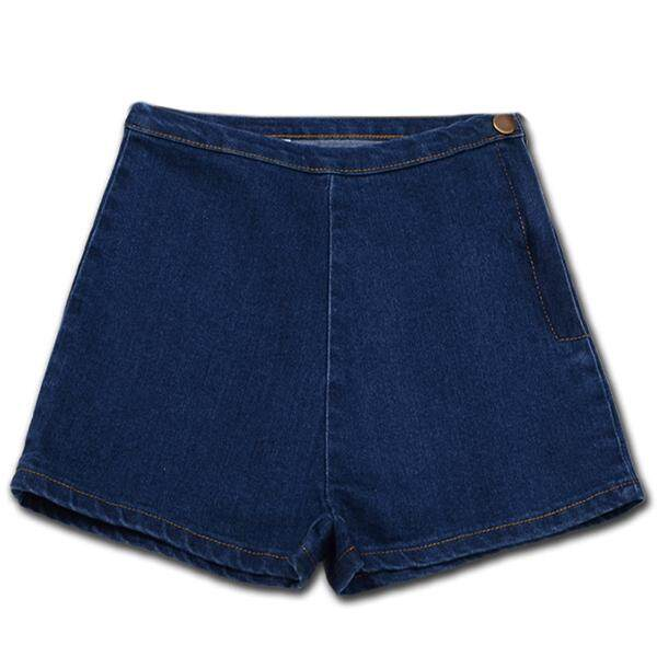 Womans Summer High Waist Denim Shorts Slim Ripped Skinny Hot Tight A Side Button Pom Jeans Short, Blue Xs By Fastour.