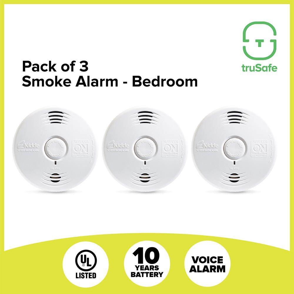 KIDDE smoke detector alarm sensor and Fire! Fire ! Voice Alarm [pack of 3], 10 Years Battery, UL listed