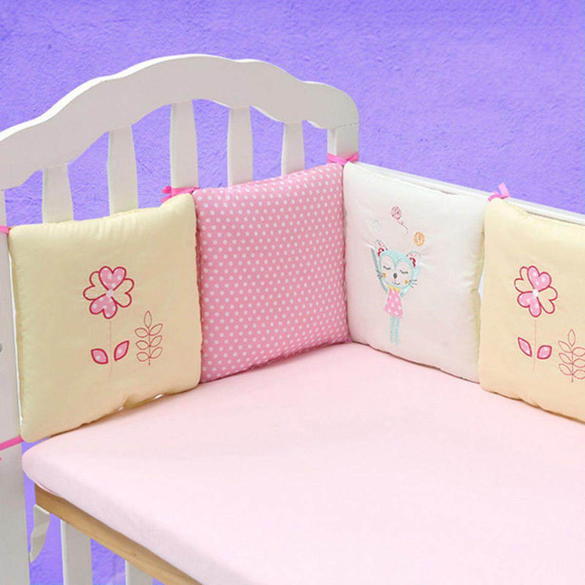 6pcs Popular Crib Bumper Protective Baby Nursery Bedding Comfy Infant Cot Pad Pink By Moonbeam.