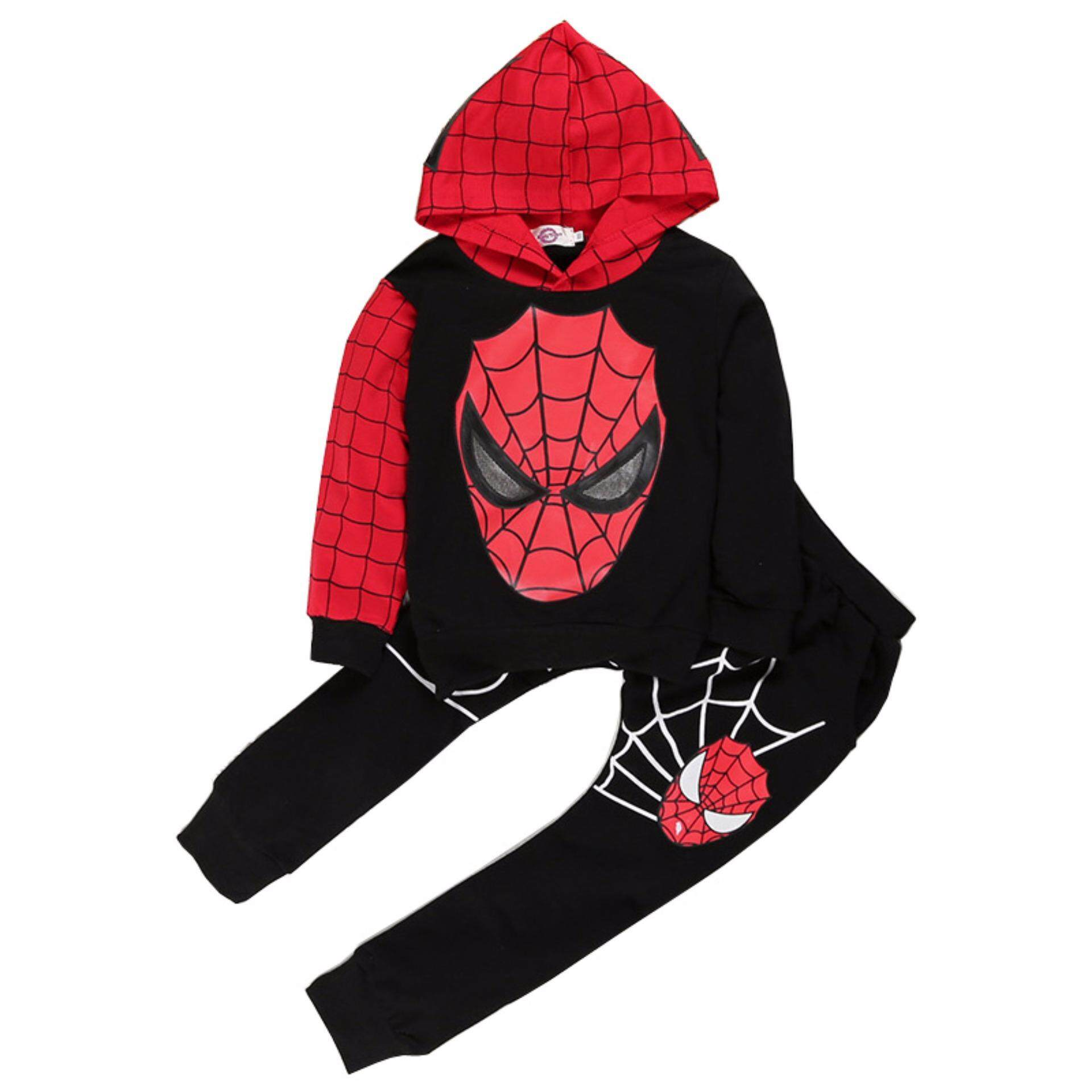 Encontrar Boys Spiderman Hoodies + Pants Sets Children Cartoon Suit 90-120cm By Encontrar.