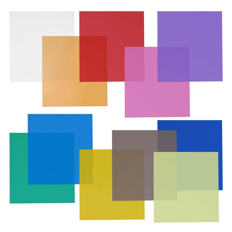 12x12 Inch Filter Set Pack Of 11 Sheets For Photo Studio Strobe Flashlight (green, Blue, Purple, Pink, Red, Light Gray, Dark Gray, Yellow, Beige, Fresh Green, Acid Blue) By Sunnny2015.