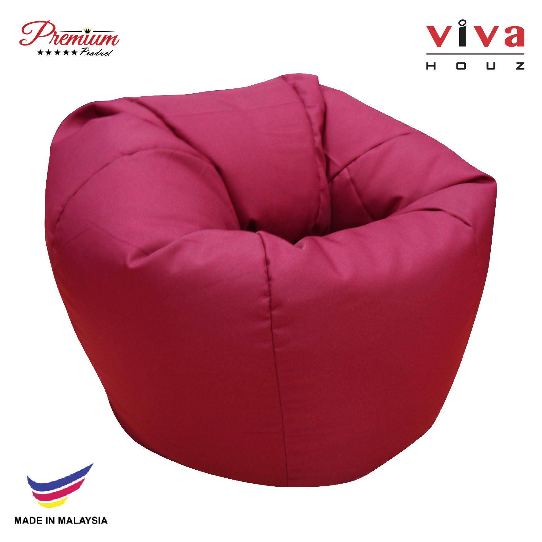 Hot Selling : Perfect Bean Bag Sofa Pouffe Chair L Size Maroon Made In Malaysia By Viva Living.