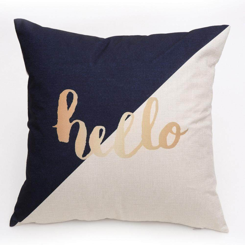 1pc Linen Pillow Case Words Pattern Home Office Sofa Decoration Seat Cushion Cover(hello) By Minxin.