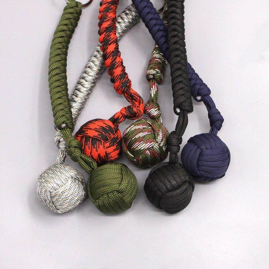 Point Outdoor Self-defense Survive Hand Weaving Umbrella Rope Ball Key Chain Pendant