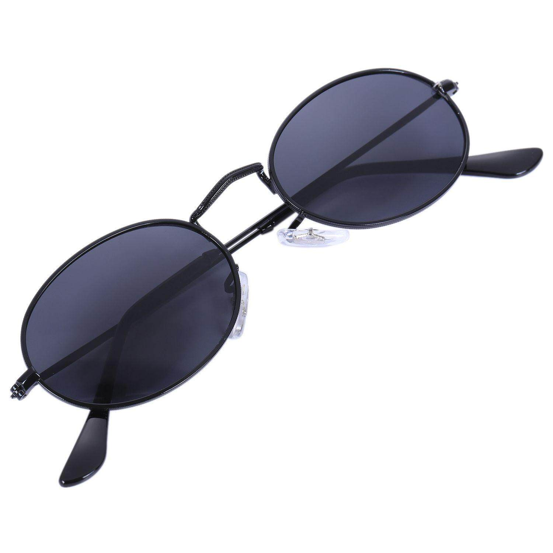 Oval Sunglasses Men Women Vintage Male Female Retro Sun Glasses Round Eyewear S8006 Black frame Black