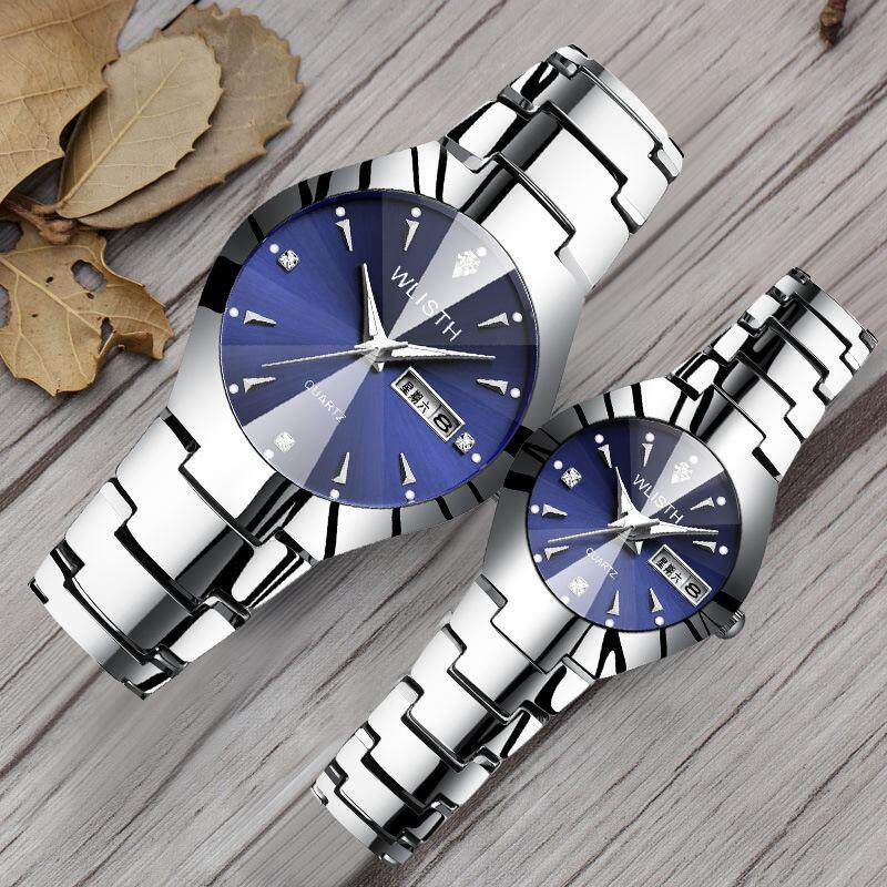 Watch wholesale mens luminous watch tungsten steel color waterproof fashion student couple watch male calendar quartz watch (silver band+blue panel for female 6#) Malaysia