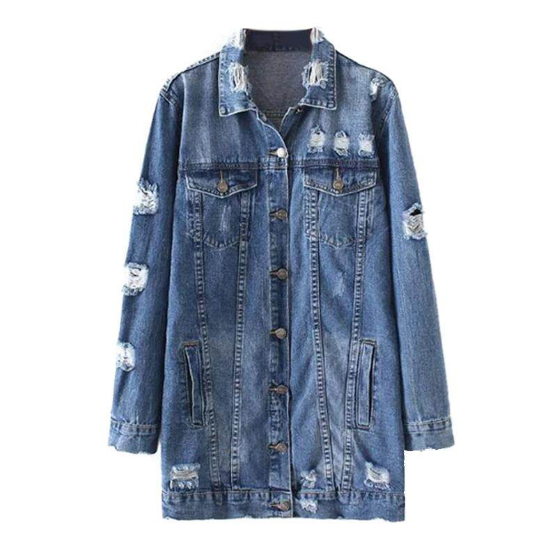 59d925c93a2 Women s New Fashion Hole Denim Jackets Street Style Long Sleeve Vintage  Jean jacket Denim Loose Spring