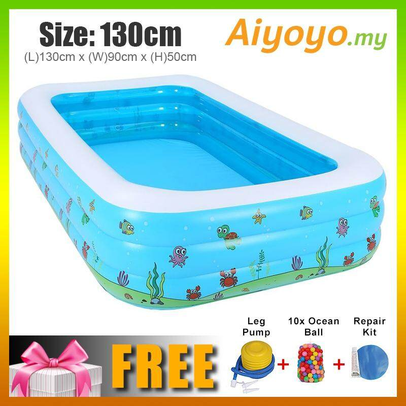 L 130 X W 90 X H 50cm Inflatable 3 Rings Swimming Pool Family Children Kids Kid Baby Home Toy Game Bath Basin Showering Playing 3 Layer Extra
