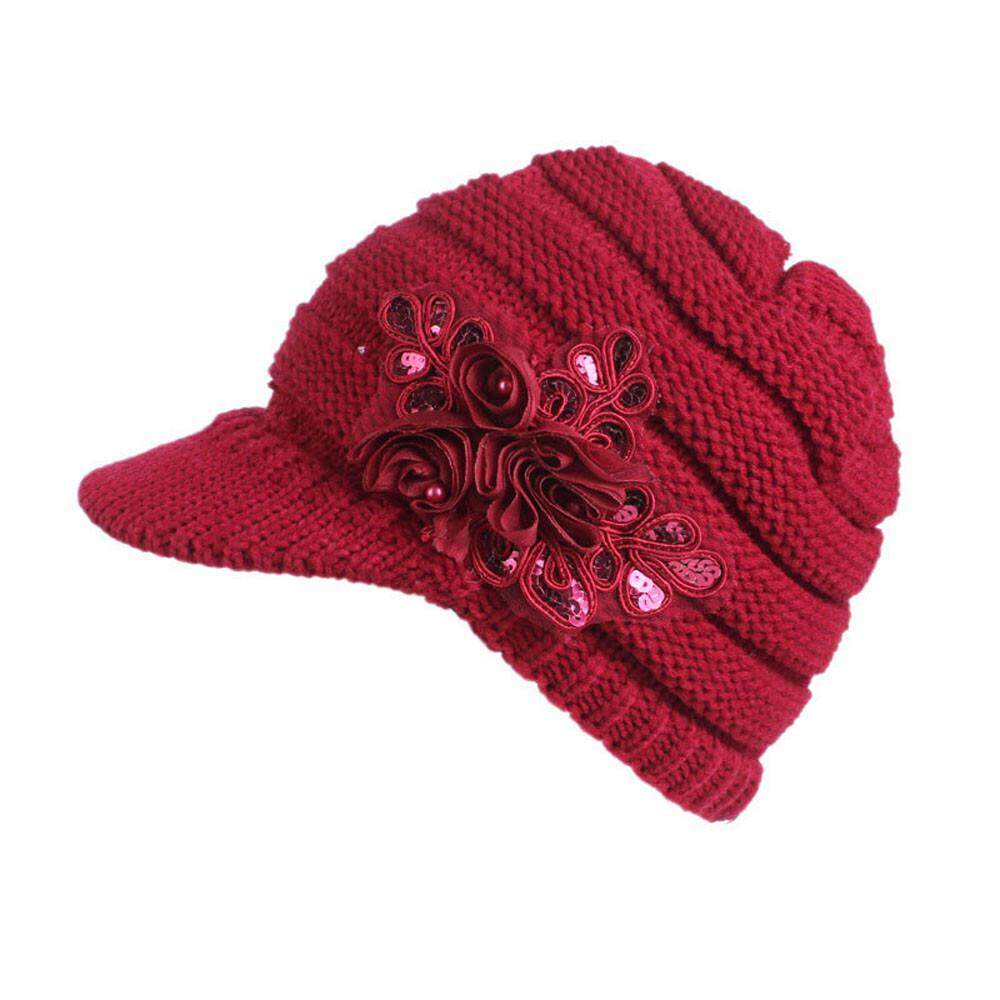 c51ceb10c926b8 Women Ladies Winter Knitting Hat Berets Turban Brim Hat Cap Pile Cap Fashion