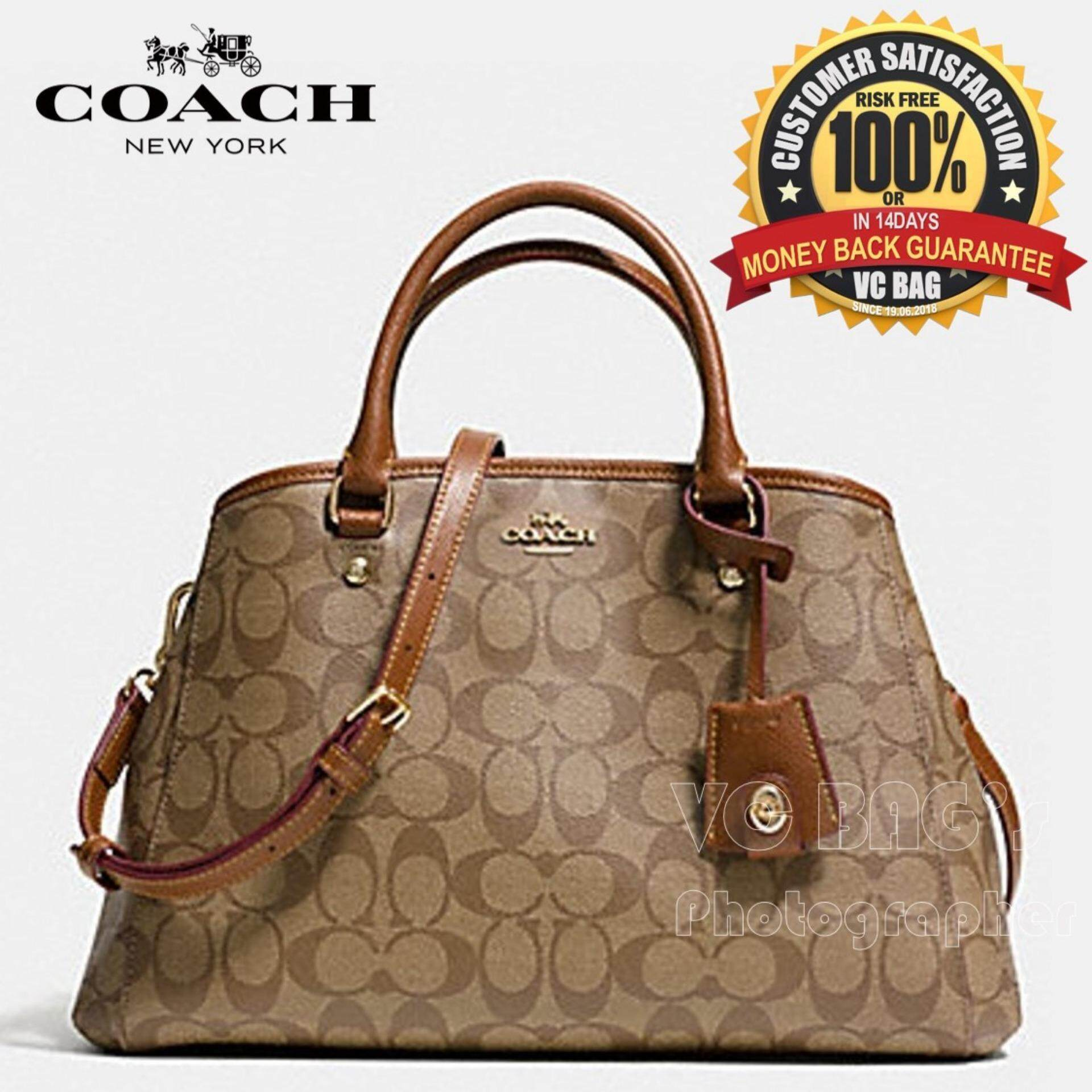 Coach F34608 Small Margot Carryall In Signature Canvas Bag Gold Khaki Saddle