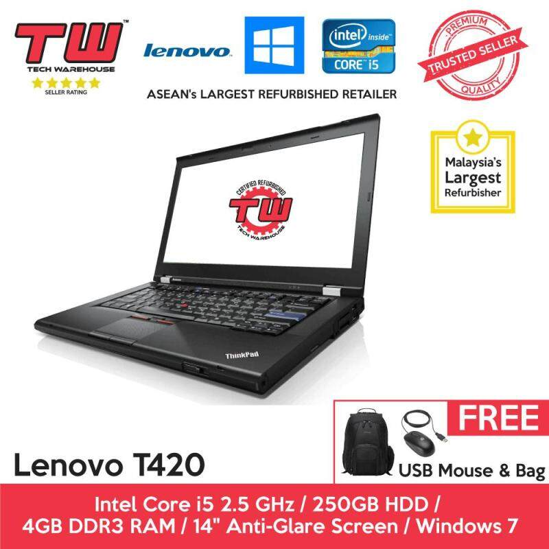 Lenovo T420 Core i5 2.5 GHz / 4GB RAM / 250GB HDD / Windows 7 Laptop / 3 Months Warranty (Factory Refurbished) Malaysia