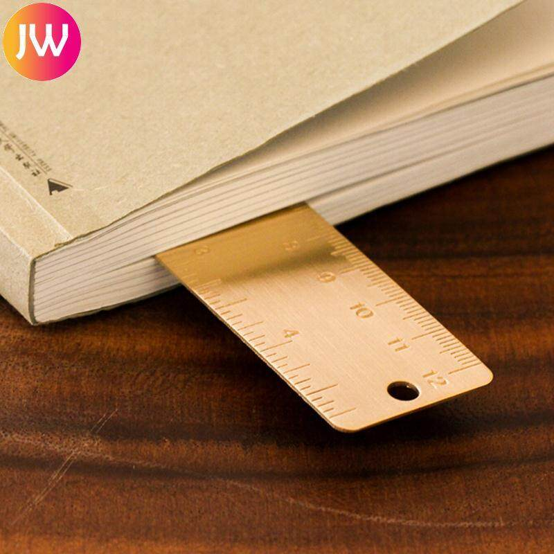 Mini Portable 12CM Brass Straight Ruler Caliper Bookmark Drafting Tool