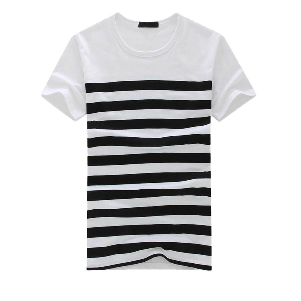 cb37043f BPFAIR Men's Fashion Casual Stripe Printed Short Sleeve T-shirt ...